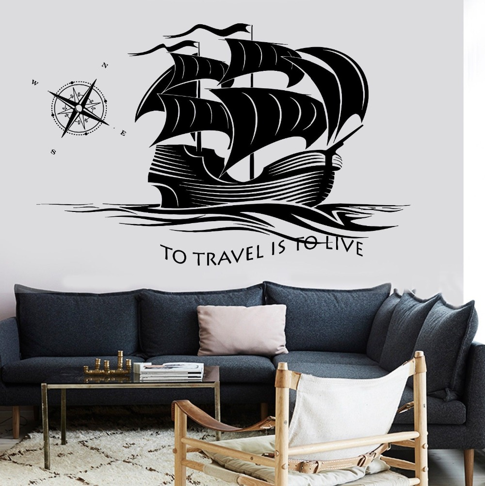 Decal Ship Yacht Compass Quotes To Travel Is To Live Ocean Sea Waves