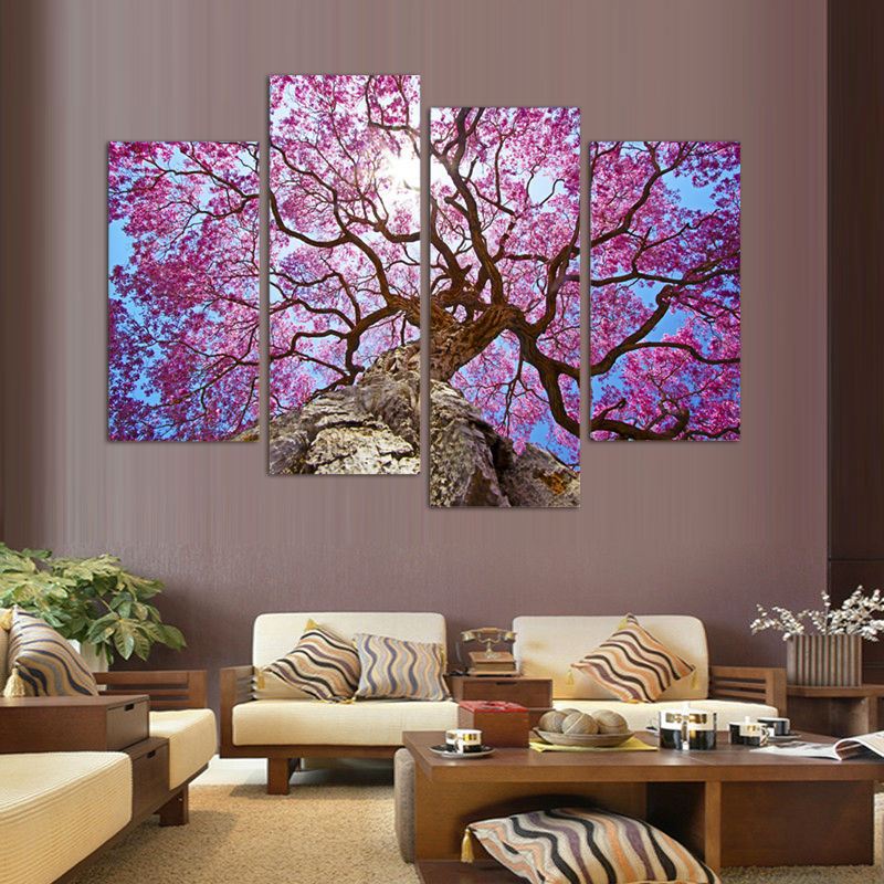 Cherry Blossoms Painting Wall Art Printed On Canvas Wall Pictures For Living Room HD Print Painting (Unframed)