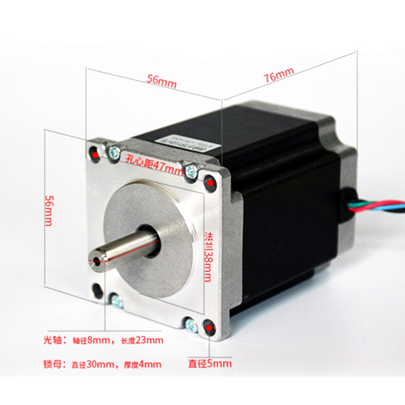 Nema 23 Step Motor 3Nm 3A 57*76 CNC Mill Torna için 4-wires Plazma Router