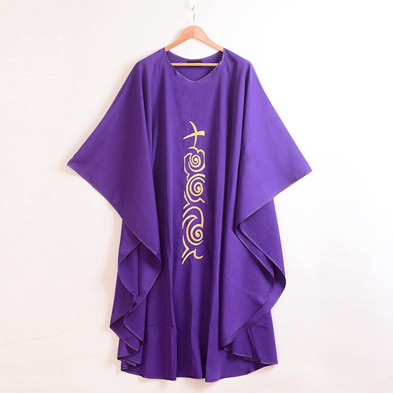 Kilise Mor Chasuble Çapraz Işlemeli Vestments Priest Robe