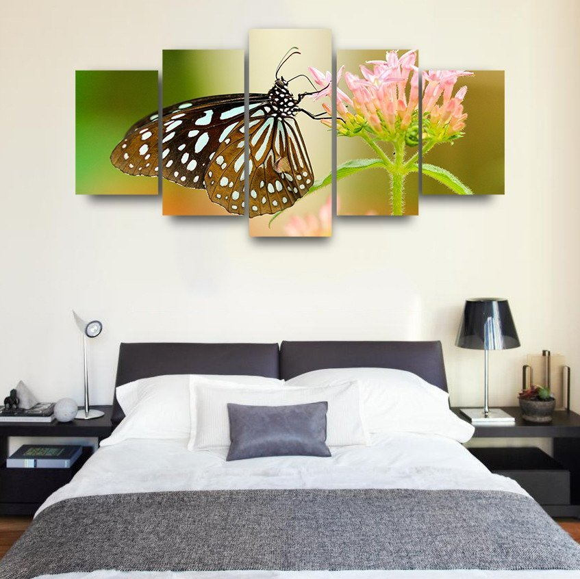 5 Panels HD Printed Butterfly flower Painting Canvas Print Room decor print poster Picture Canvas Unframed